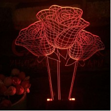 3D led светильник три розы