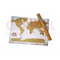 Скрэтч-карта мира cтирающаяся (на английском) в тубусе