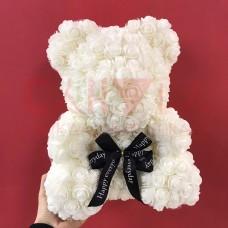 Мишка из белых роз 40см