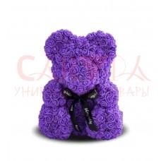 Мишка из фиолетовых роз 40см