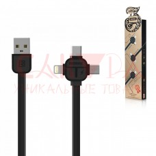 USB кабель 3 в 1 REMAX Lesu 3 in 1 Cable RC-066th Lightning 8-pin/MicroUSB/Type-C