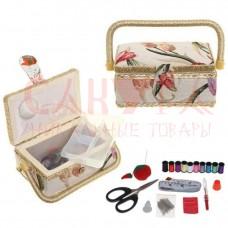 Шкатулка для рукоделия (с подносом и набором для шитья), Д19 Ш13 В10 см