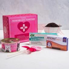 Подарочный набор «Любовная помощь»: леденец 15 г, конфеты 65 г, чай 20 г, шоколад 27 г