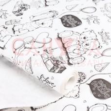 Бумага белая крафт 50гр/м2, 72см х 1м, Белые мишки
