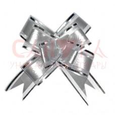 Бант-бабочка 3 см, Узор с серебряной окантовкой серебряный