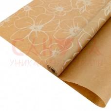 Бумага крафт 40гр/м2, 72см х 1м, Анемоны белые