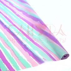 Пленка матовая 70см, Лайн, бирюза-сирень-розовый, 200г , 35мкр