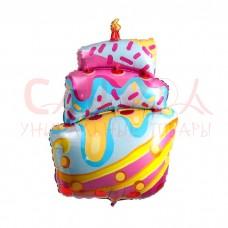 """Шар ФИГУРА 35"""" Торт разноцветный со свечкой 87 см"""