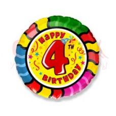 """Шар Ф 18"""" Круг Happy birthday! Цифра """"4"""" 46 см /FM"""