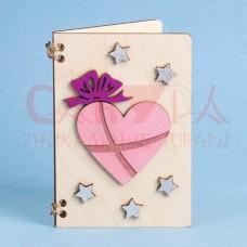 Деревянная открытка сердечко и звездочки